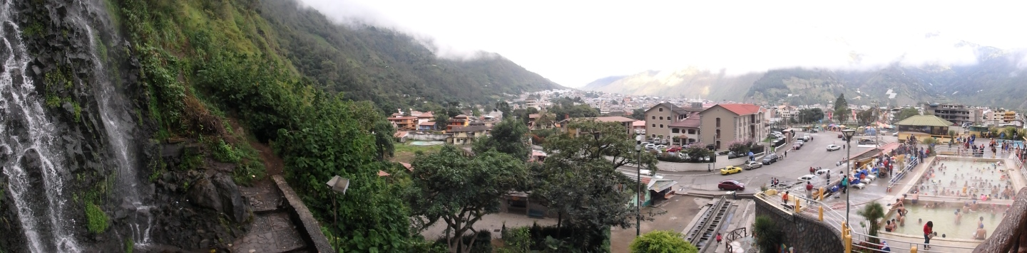 Pano of the local waterfall and baths of Baños