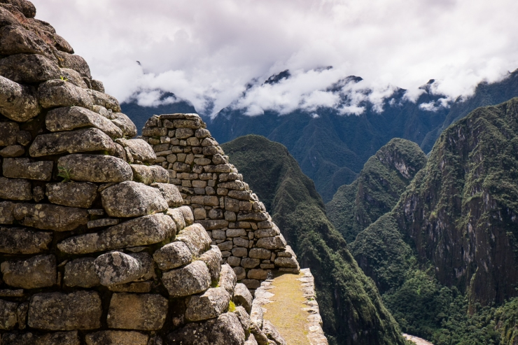 The rooftop of some beautiful ruins at Machu Picchu.