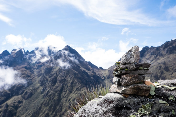 Our Andes Cairn and offerings to the Pachamama.