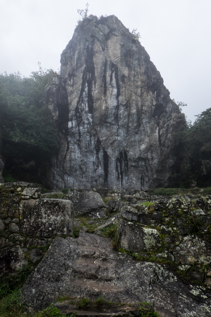 The Sacred Rock, mid-way between the Sun Gate and Machu Picchu.  This giant monolith is pre-inka and thought to be part of the reason this area was chosen for Machu Picchu.